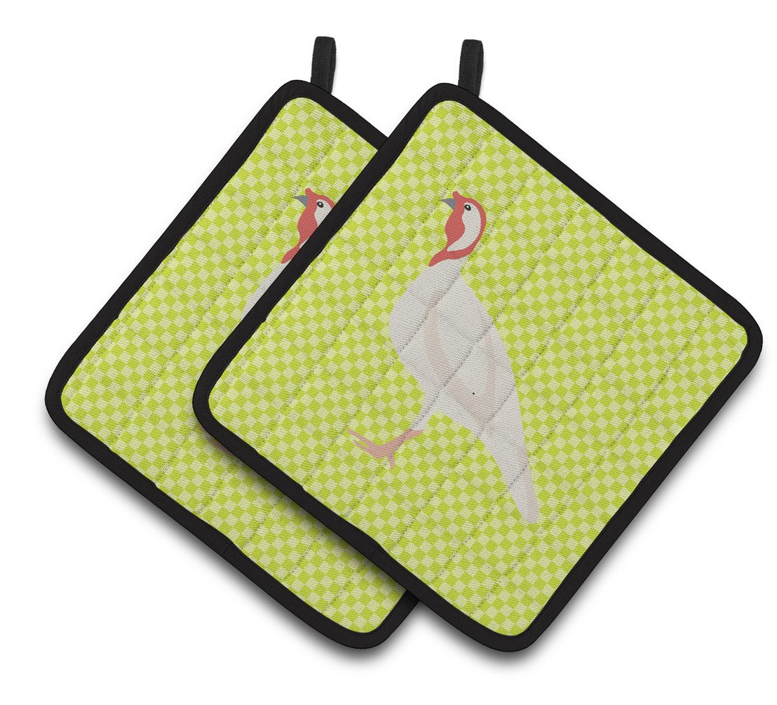 Beltsville Small White Turkey Hen Green Pair of Pot Holders BB7815PTHD by Caroline's Treasures