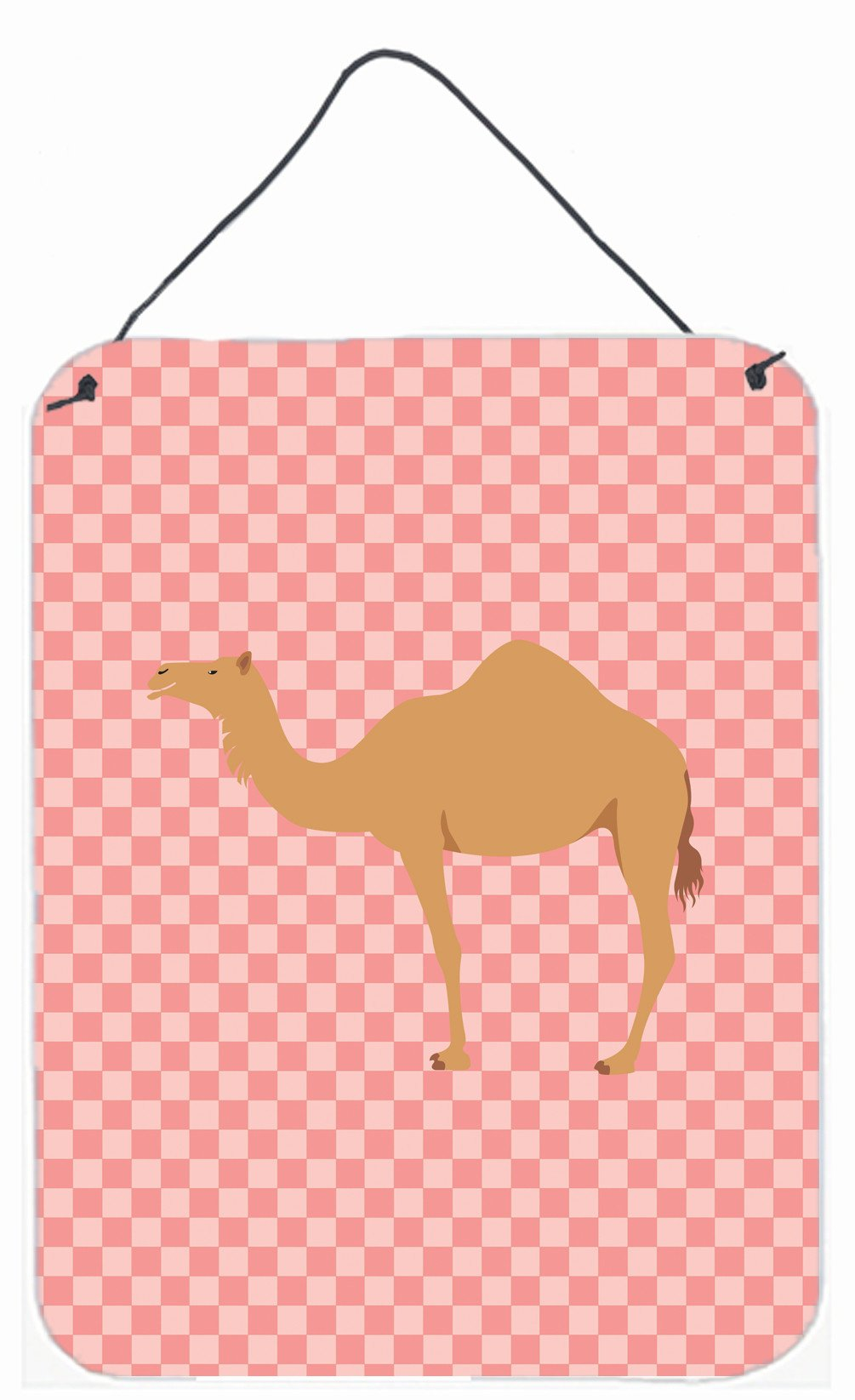Arabian Camel Dromedary Pink Check Wall or Door Hanging Prints BB7817DS1216 by Caroline's Treasures