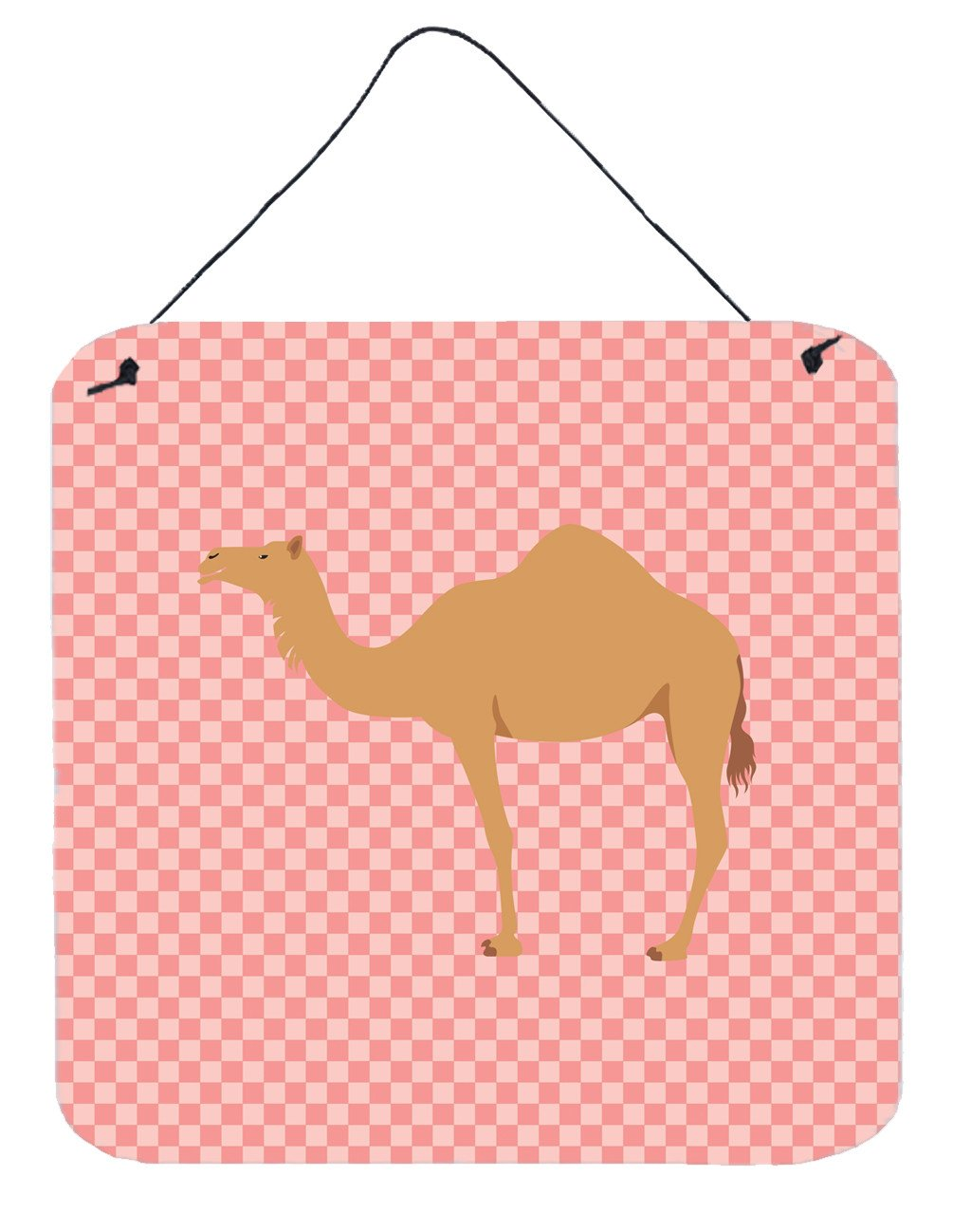 Arabian Camel Dromedary Pink Check Wall or Door Hanging Prints BB7817DS66 by Caroline's Treasures