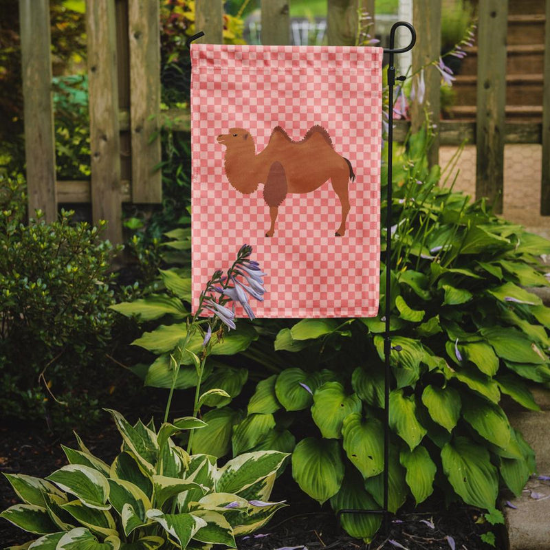Buy this Bactrian Camel Pink Check Flag Garden Size