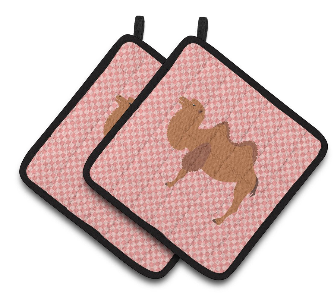 Bactrian Camel Pink Check Pair of Pot Holders BB7818PTHD by Caroline's Treasures