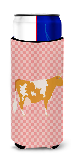 Buy this Guernsey Cow Pink Check Michelob Ultra Hugger for slim cans