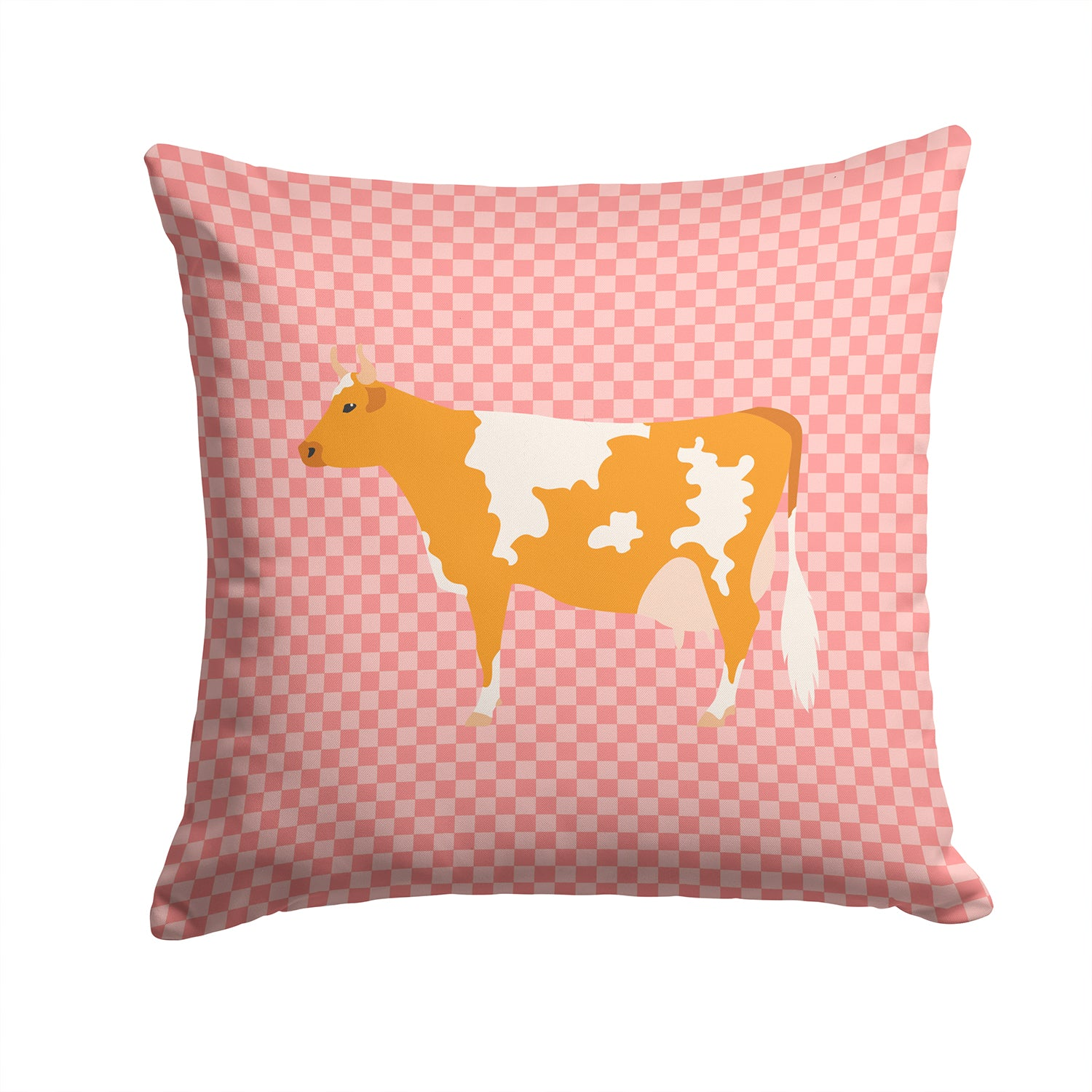 Guernsey Cow Pink Check Fabric Decorative Pillow BB7821PW1414 by Caroline's Treasures