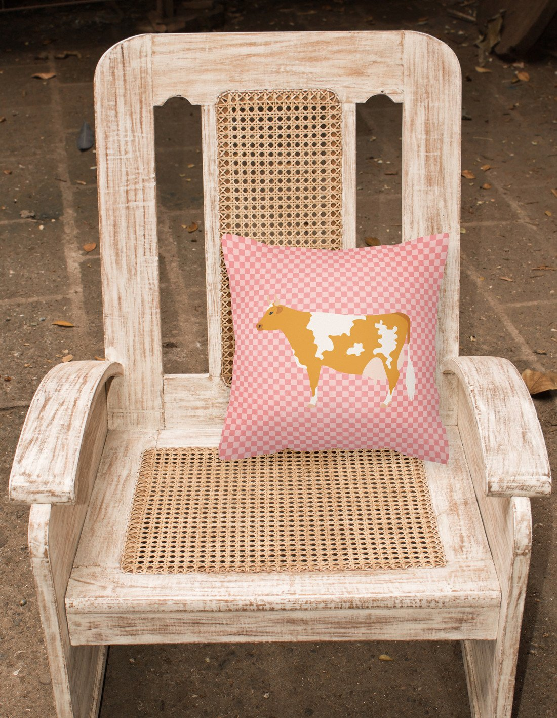 Guernsey Cow Pink Check Fabric Decorative Pillow BB7821PW1818 by Caroline's Treasures