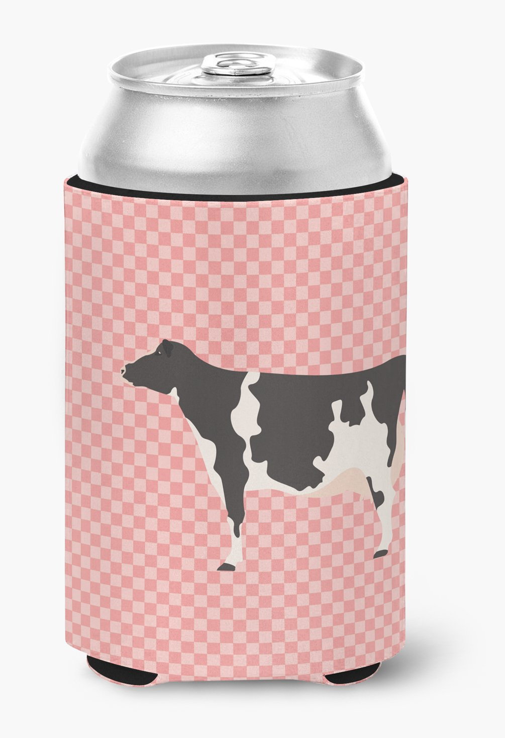 Holstein Cow Pink Check Can or Bottle Hugger by Caroline's Treasures
