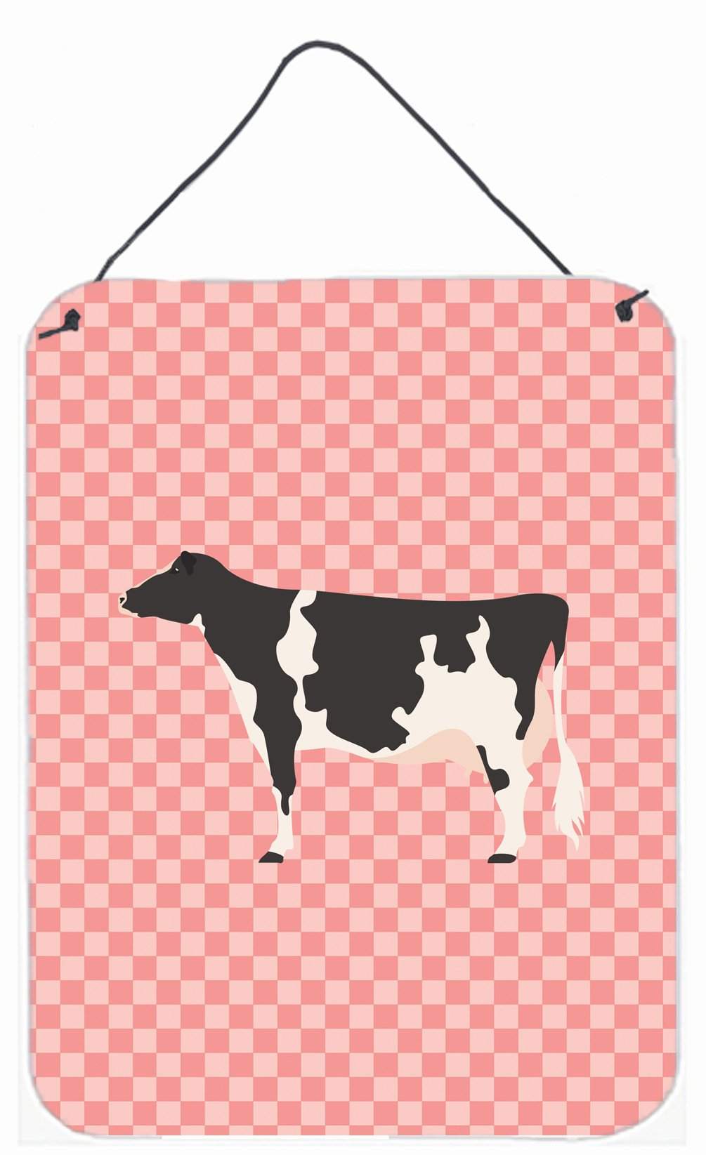 Holstein Cow Pink Check Wall or Door Hanging Prints BB7822DS1216 by Caroline's Treasures