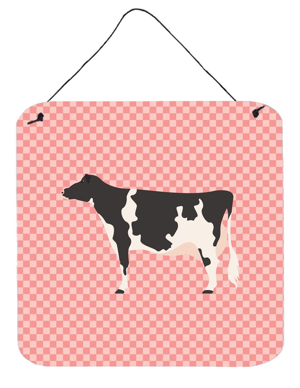 Holstein Cow Pink Check Wall or Door Hanging Prints BB7822DS66 by Caroline's Treasures