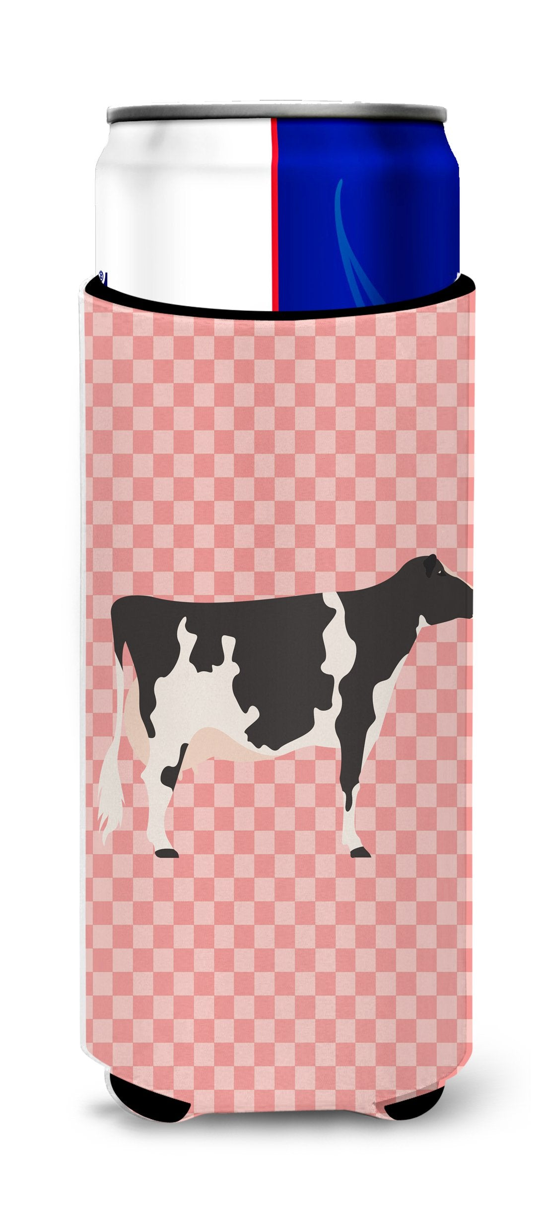 Holstein Cow Pink Check Michelob Ultra Hugger for slim cans by Caroline's Treasures