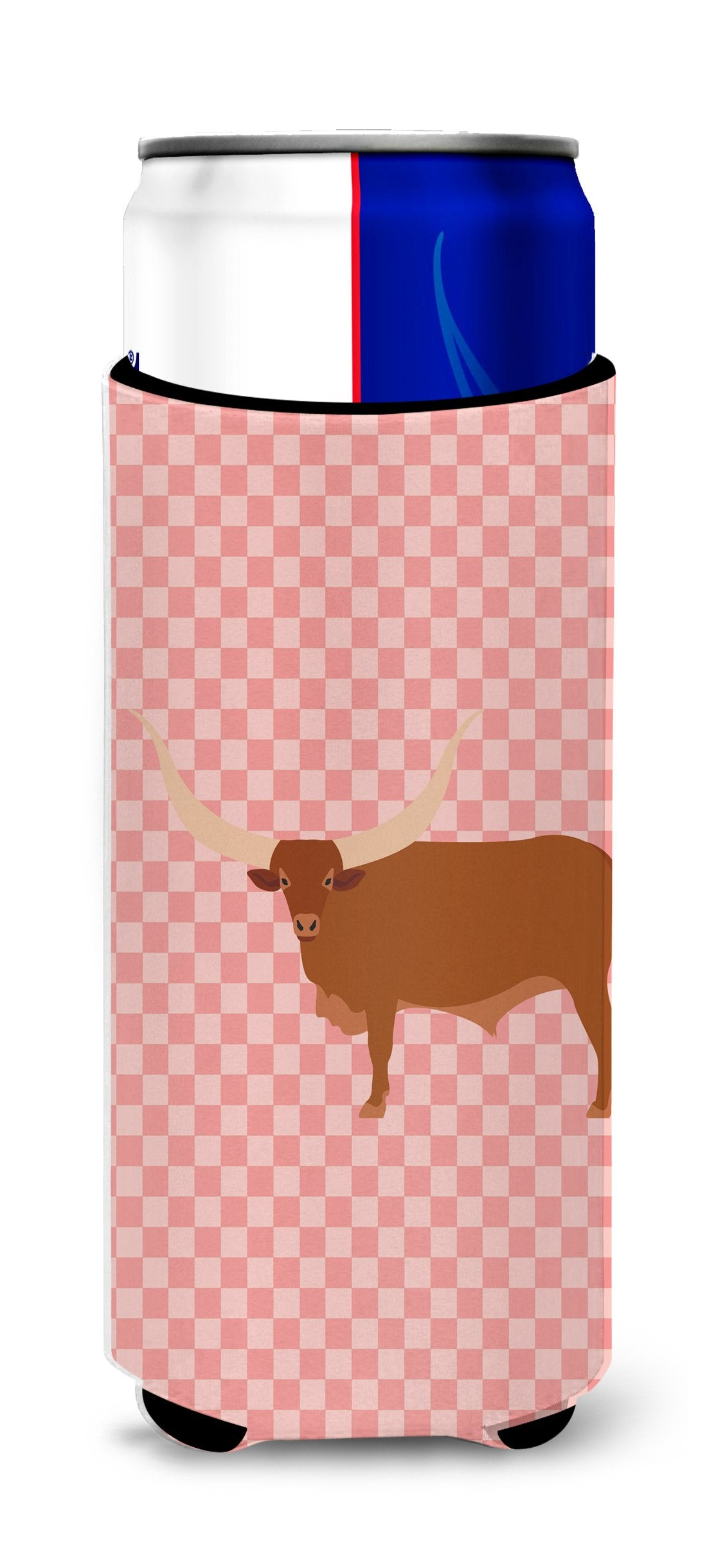 Buy this Ankole-Watusu Cow Pink Check Michelob Ultra Hugger for slim cans