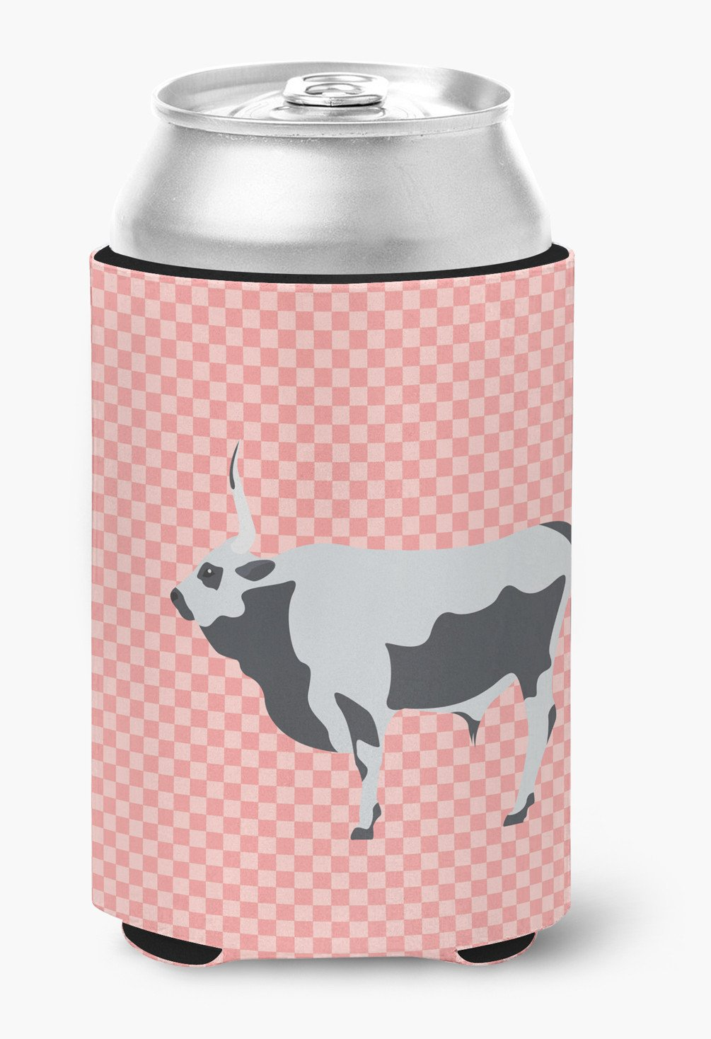 Hungarian Grey Steppe Cow Pink Check Can or Bottle Hugger BB7824CC by Caroline's Treasures
