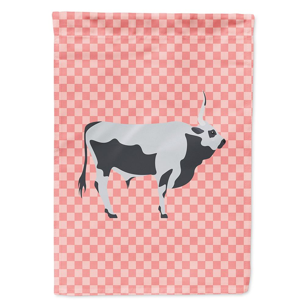 Hungarian Grey Steppe Cow Pink Check Flag Garden Size by Caroline's Treasures