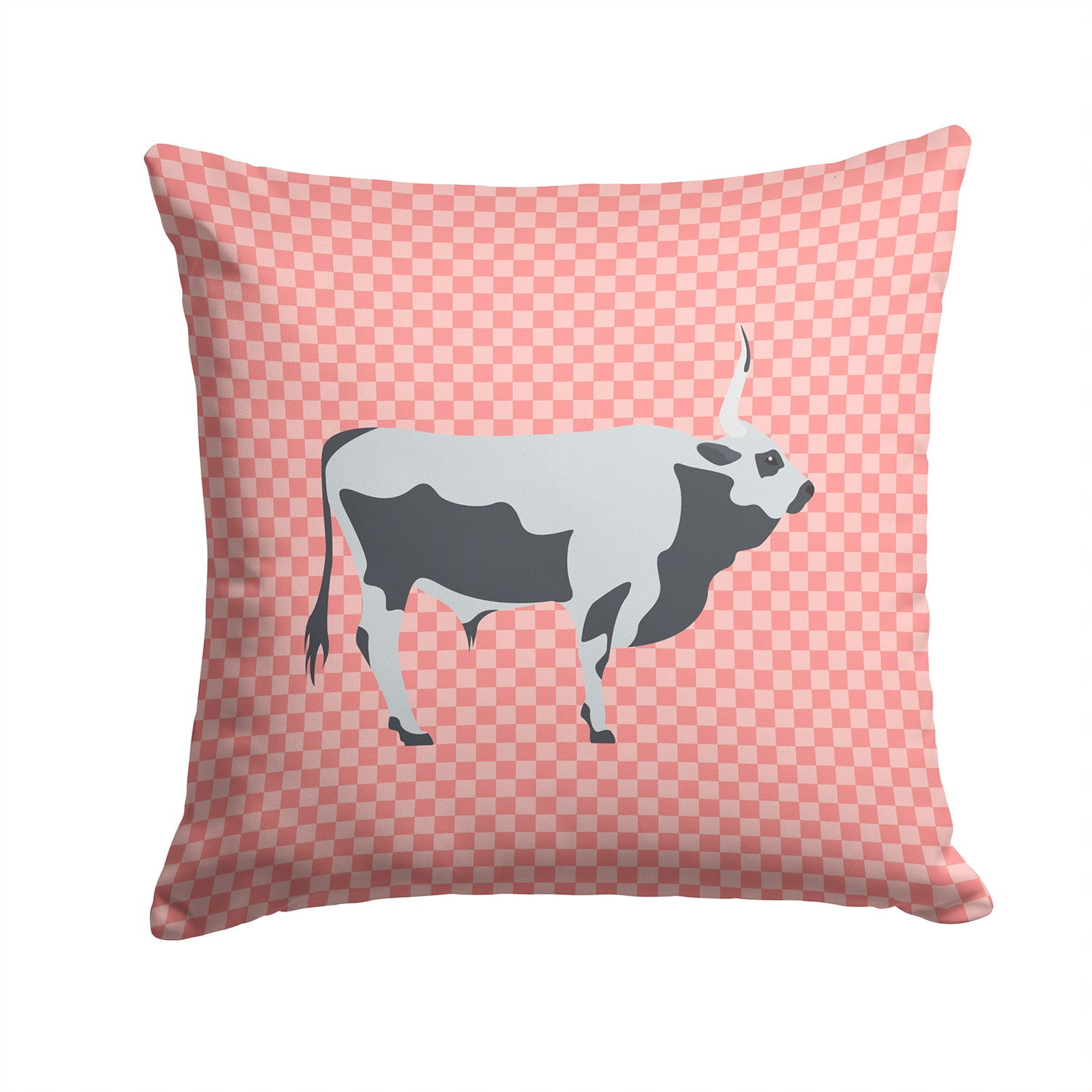 Hungarian Grey Steppe Cow Pink Check Fabric Decorative Pillow BB7824PW1414 by Caroline's Treasures