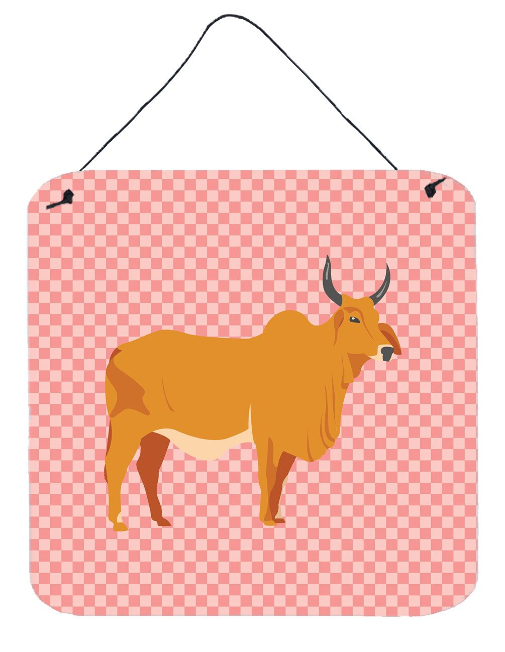 Buy this Zebu Indicine Cow Pink Check Wall or Door Hanging Prints BB7825DS66