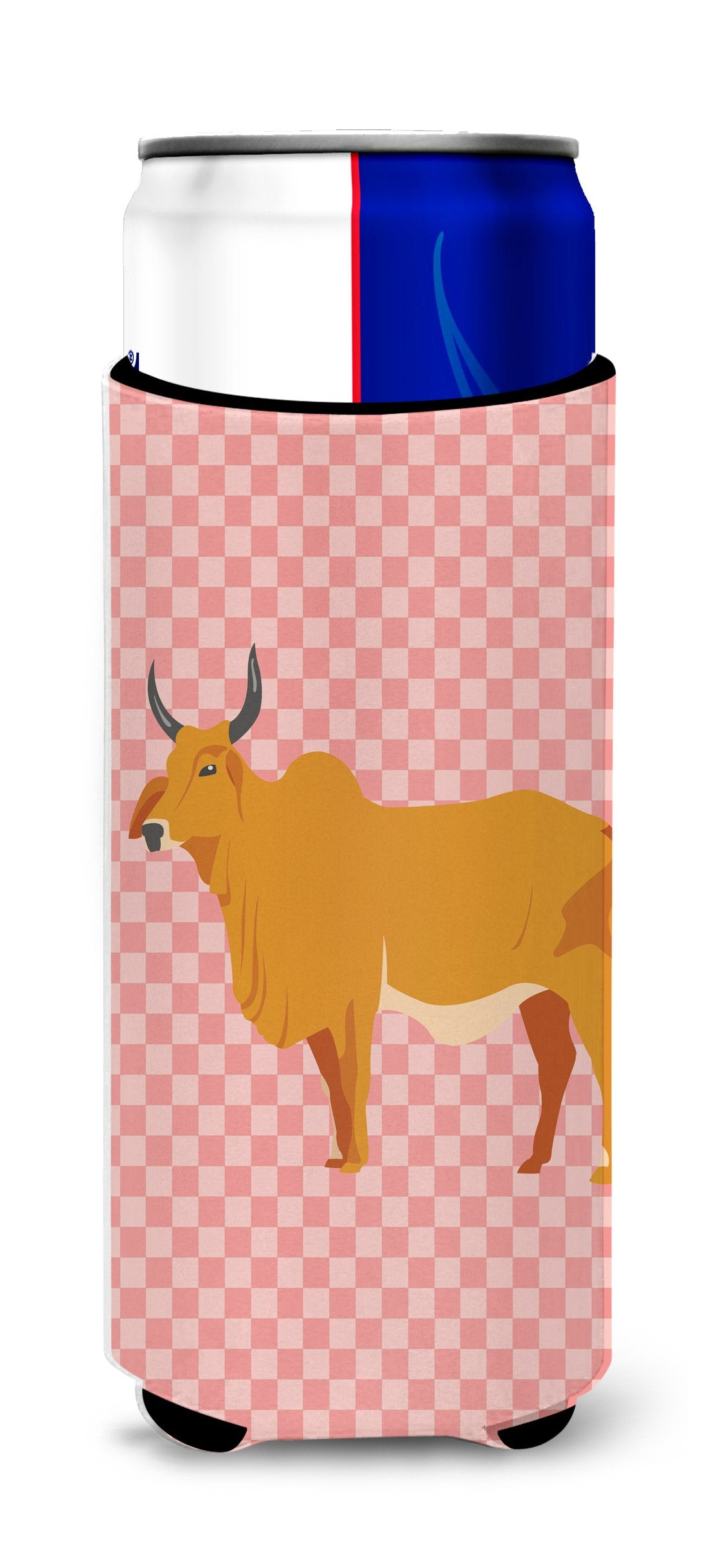 Buy this Zebu Indicine Cow Pink Check Michelob Ultra Hugger for slim cans