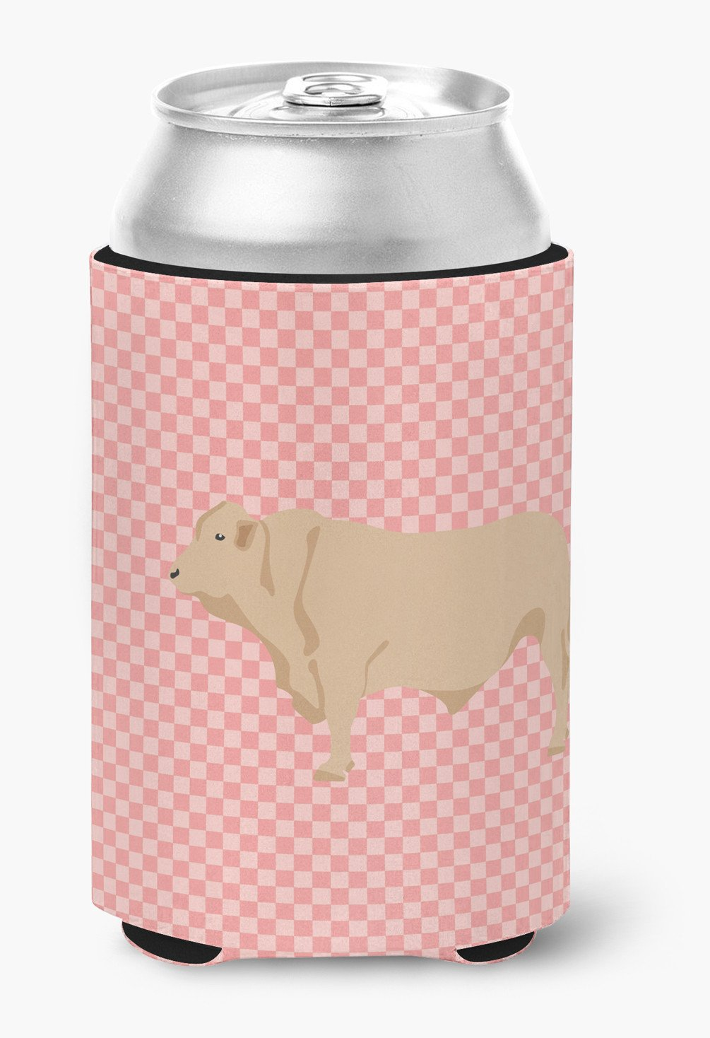 Charolais Cow Pink Check Can or Bottle Hugger BB7826CC by Caroline's Treasures
