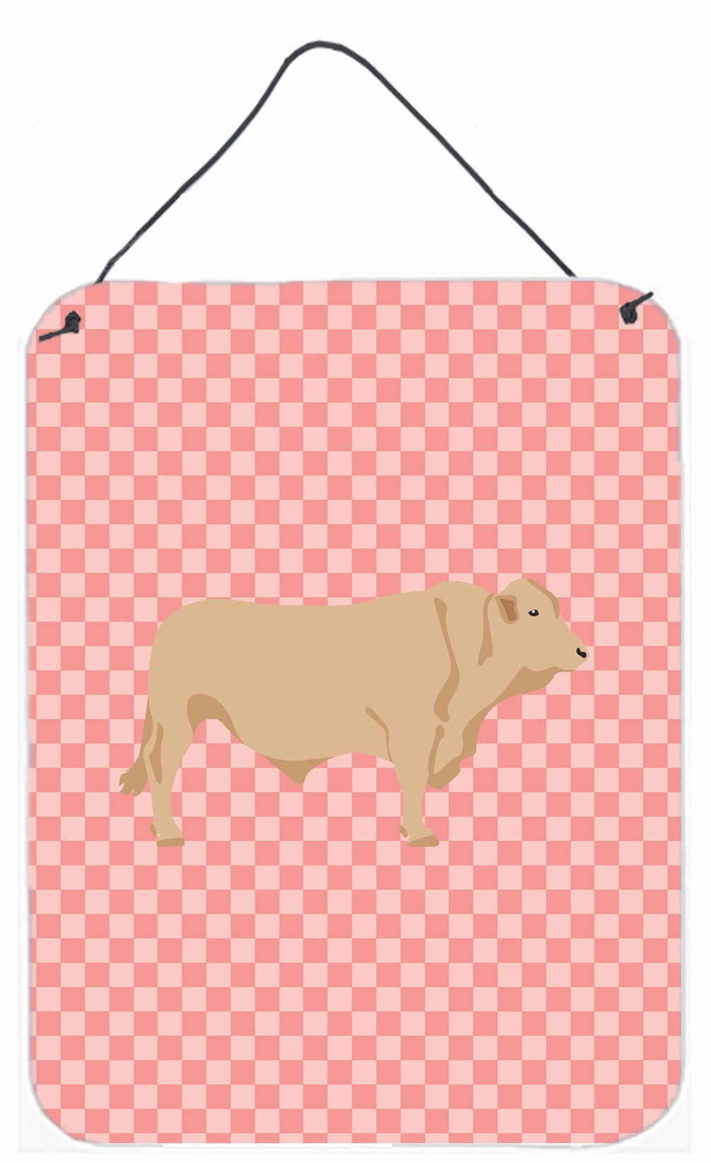 Buy this Charolais Cow Pink Check Wall or Door Hanging Prints BB7826DS1216