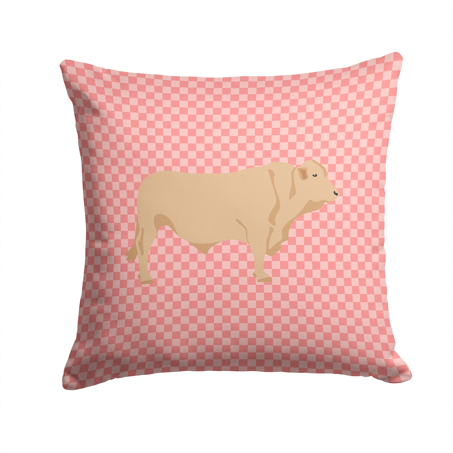Charolais Cow Pink Check Fabric Decorative Pillow BB7826PW1414 by Caroline's Treasures