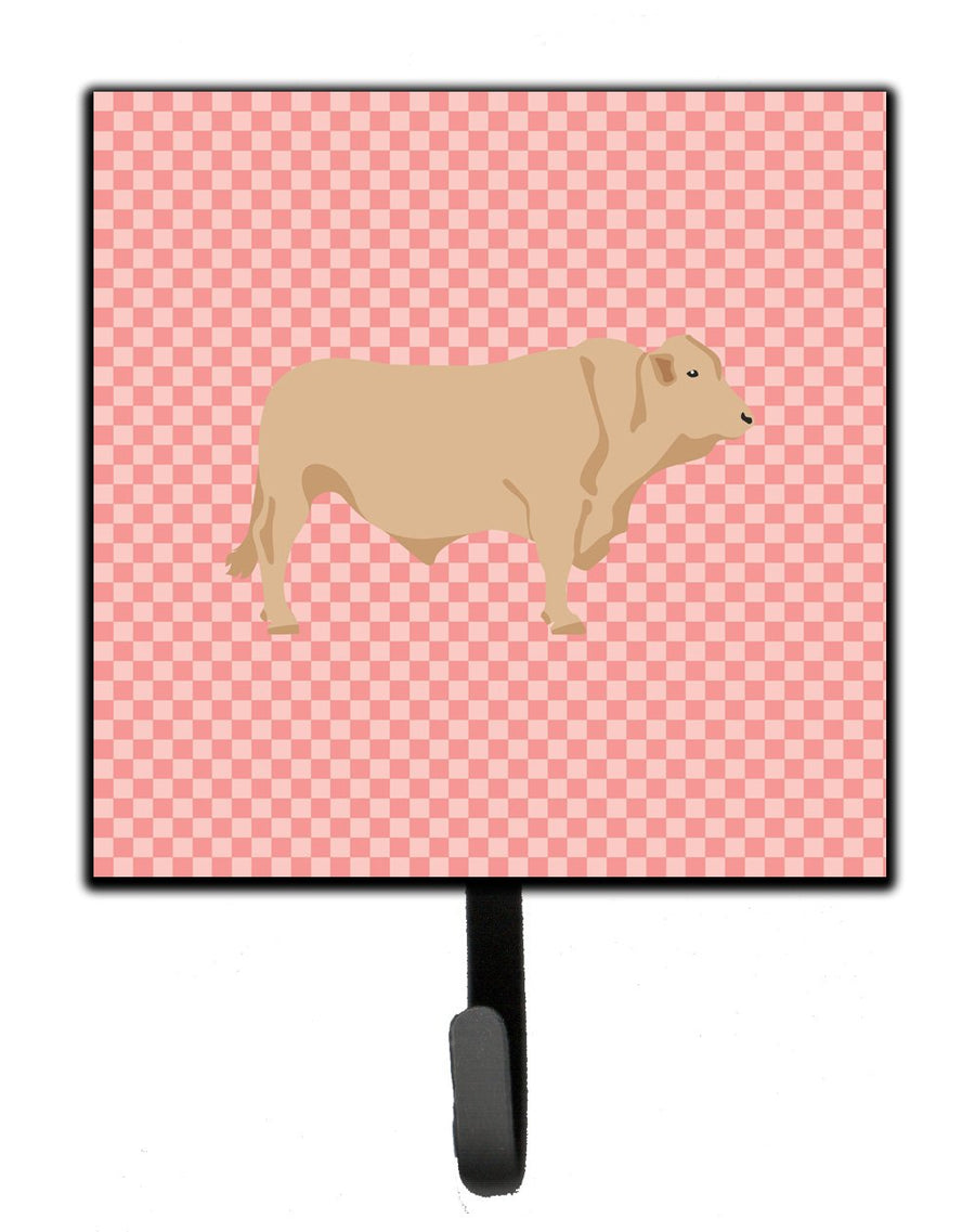 Buy this Charolais Cow Pink Check Leash or Key Holder