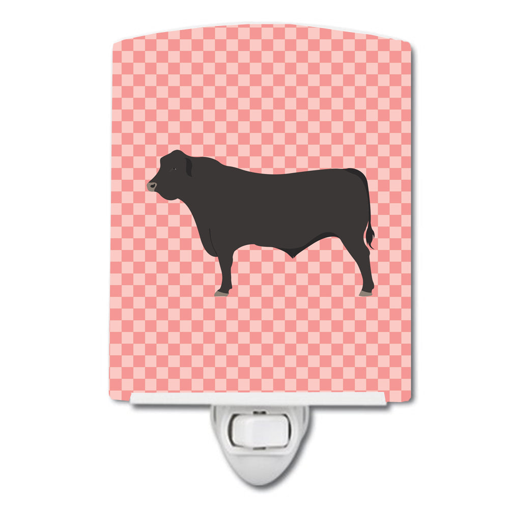 Black Angus Cow Pink Check Ceramic Night Light BB7828CNL by Caroline's Treasures