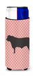 Black Angus Cow Pink Check Michelob Ultra Hugger for slim cans by Caroline's Treasures