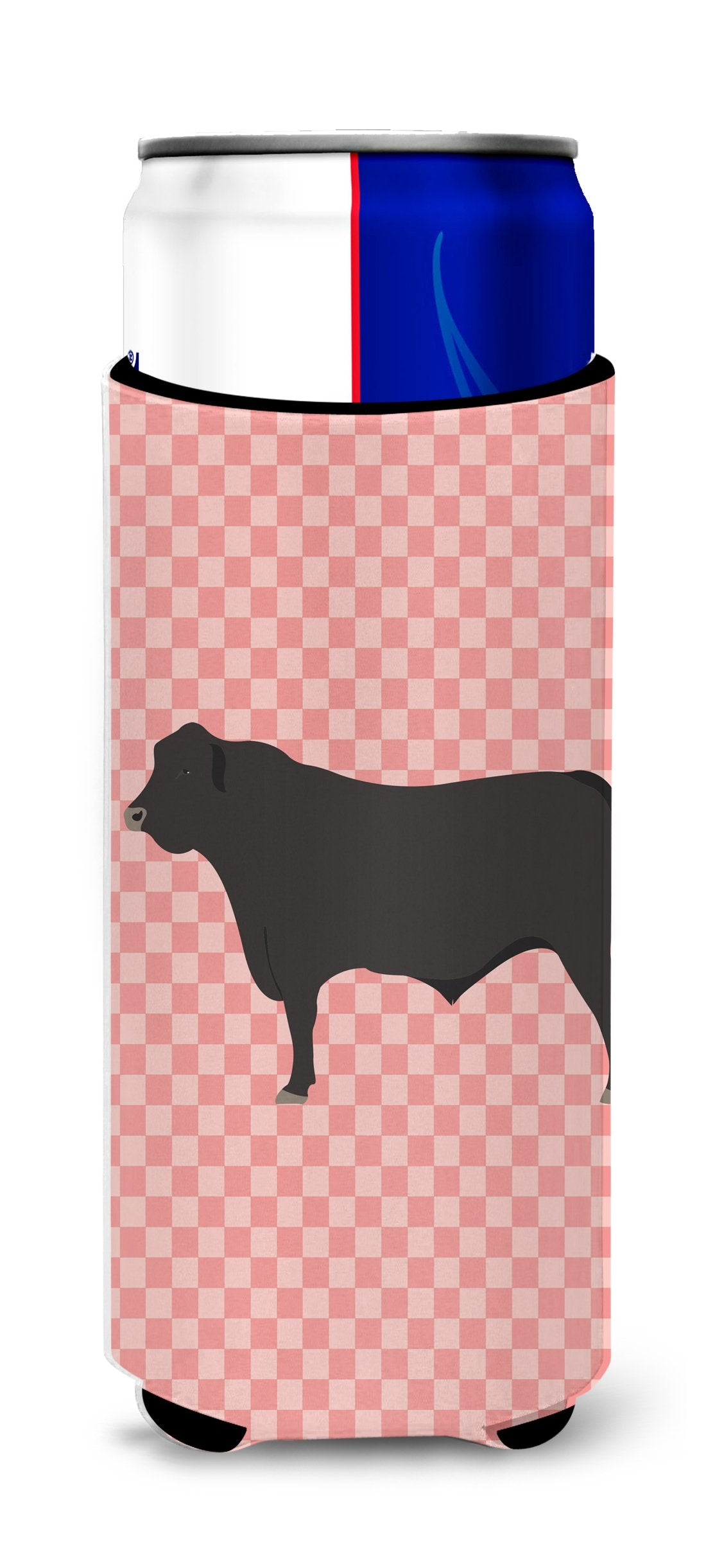 Buy this Black Angus Cow Pink Check Michelob Ultra Hugger for slim cans