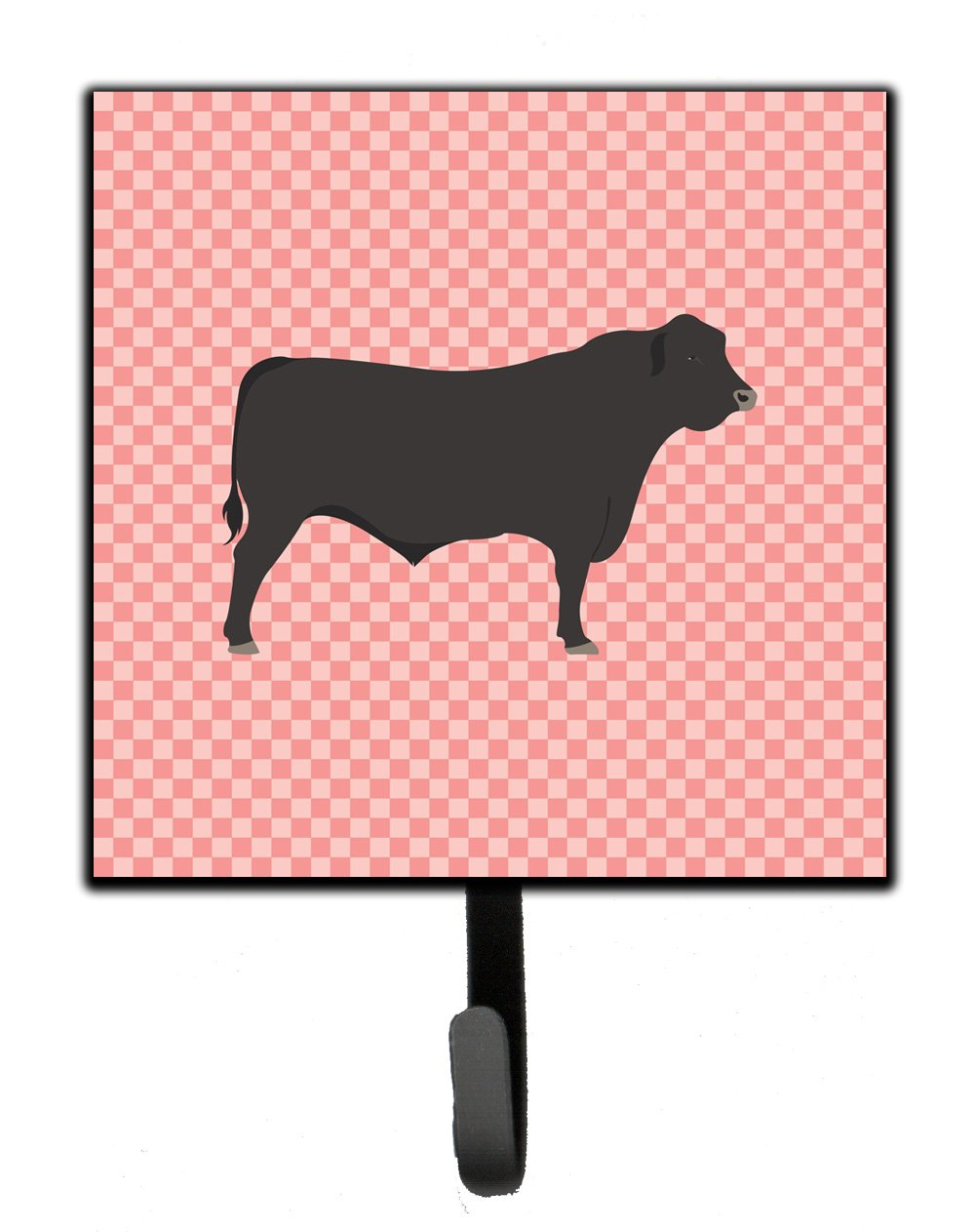 Black Angus Cow Pink Check Leash or Key Holder by Caroline's Treasures