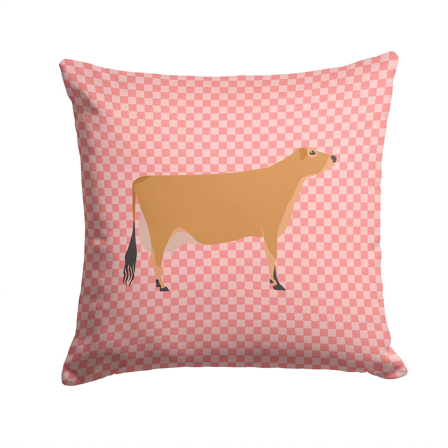 Jersey Cow Pink Check Fabric Decorative Pillow BB7829PW1414 by Caroline's Treasures