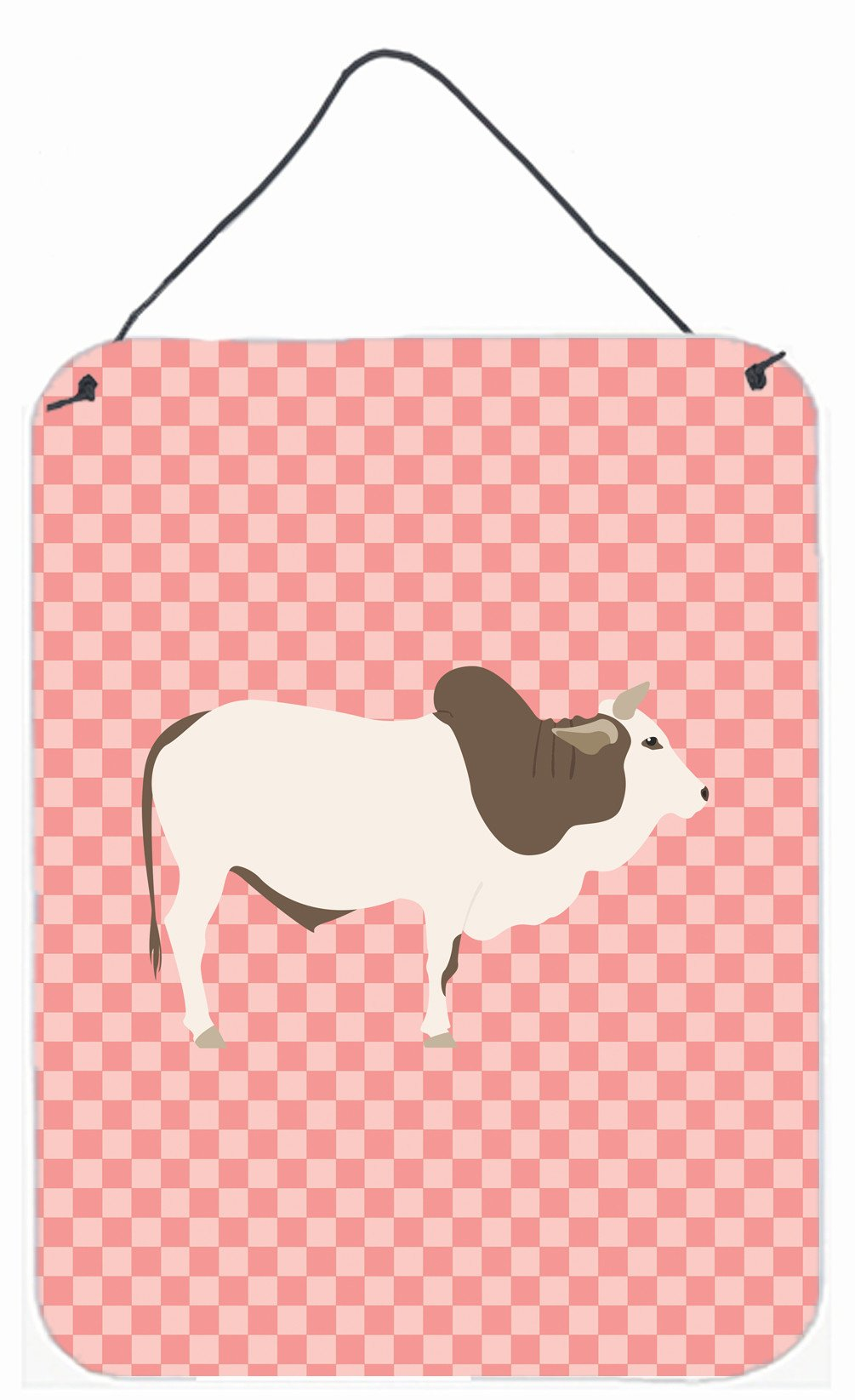 Malvi Cow Pink Check Wall or Door Hanging Prints BB7830DS1216 by Caroline's Treasures