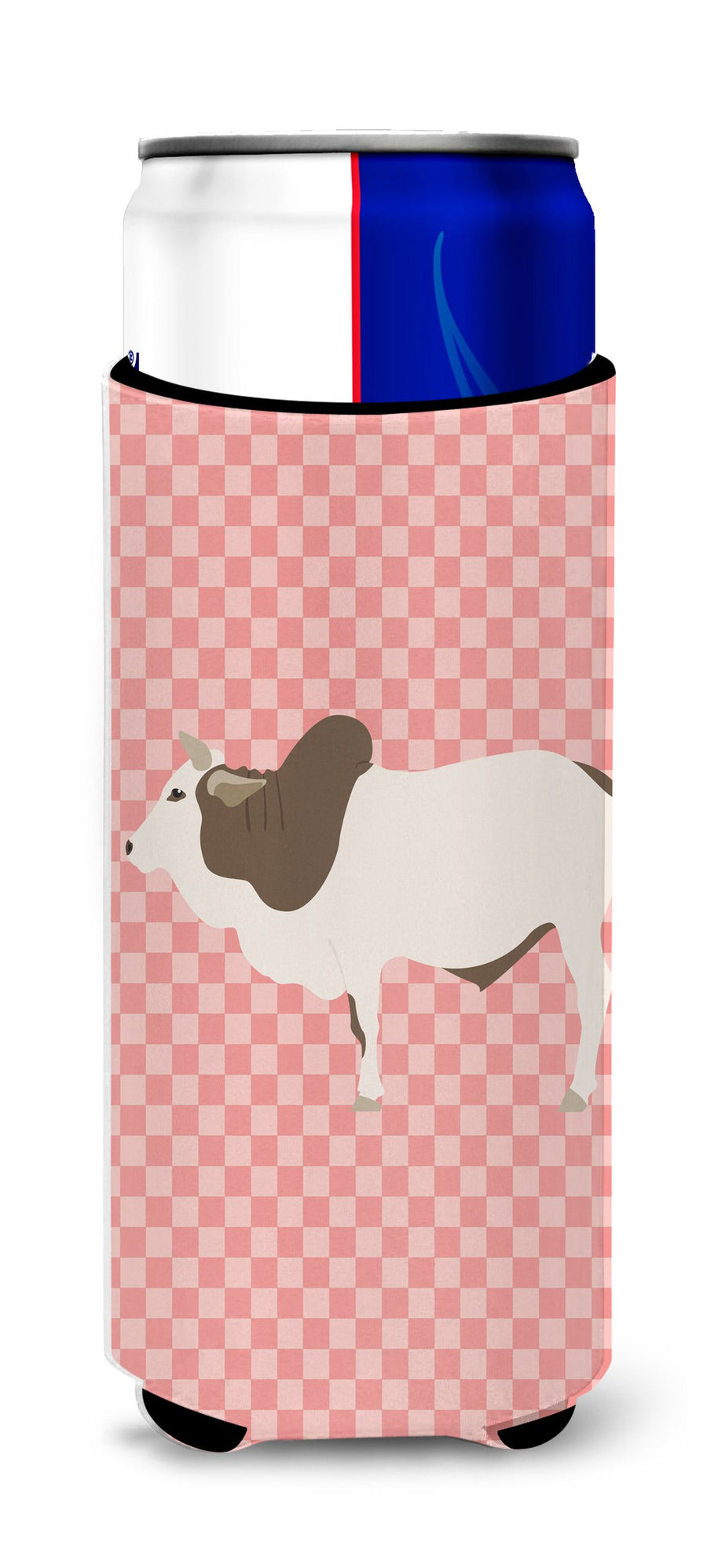 Buy this Malvi Cow Pink Check Michelob Ultra Hugger for slim cans