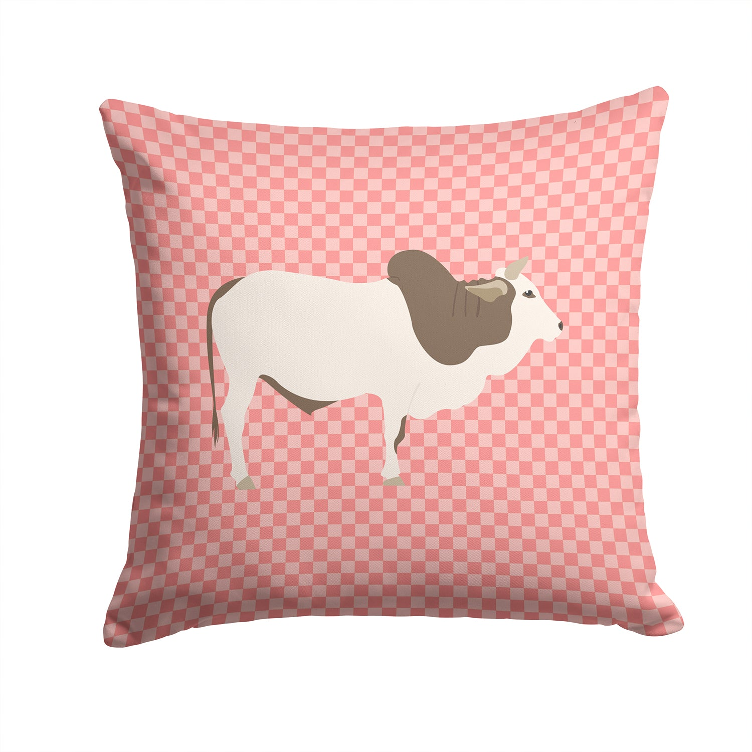 Malvi Cow Pink Check Fabric Decorative Pillow BB7830PW1414 by Caroline's Treasures