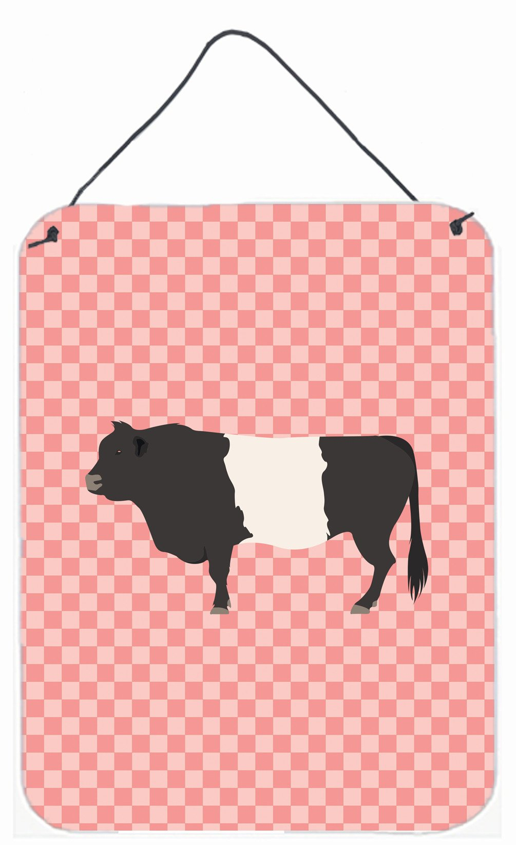 Belted Galloway Cow Pink Check Wall or Door Hanging Prints BB7831DS1216 by Caroline's Treasures