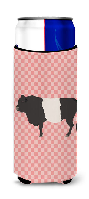 Buy this Belted Galloway Cow Pink Check Michelob Ultra Hugger for slim cans
