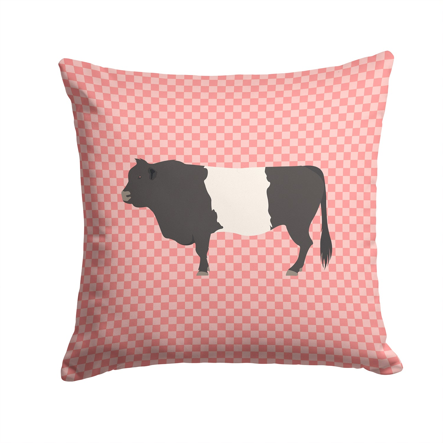 Belted Galloway Cow Pink Check Fabric Decorative Pillow BB7831PW1414 by Caroline's Treasures