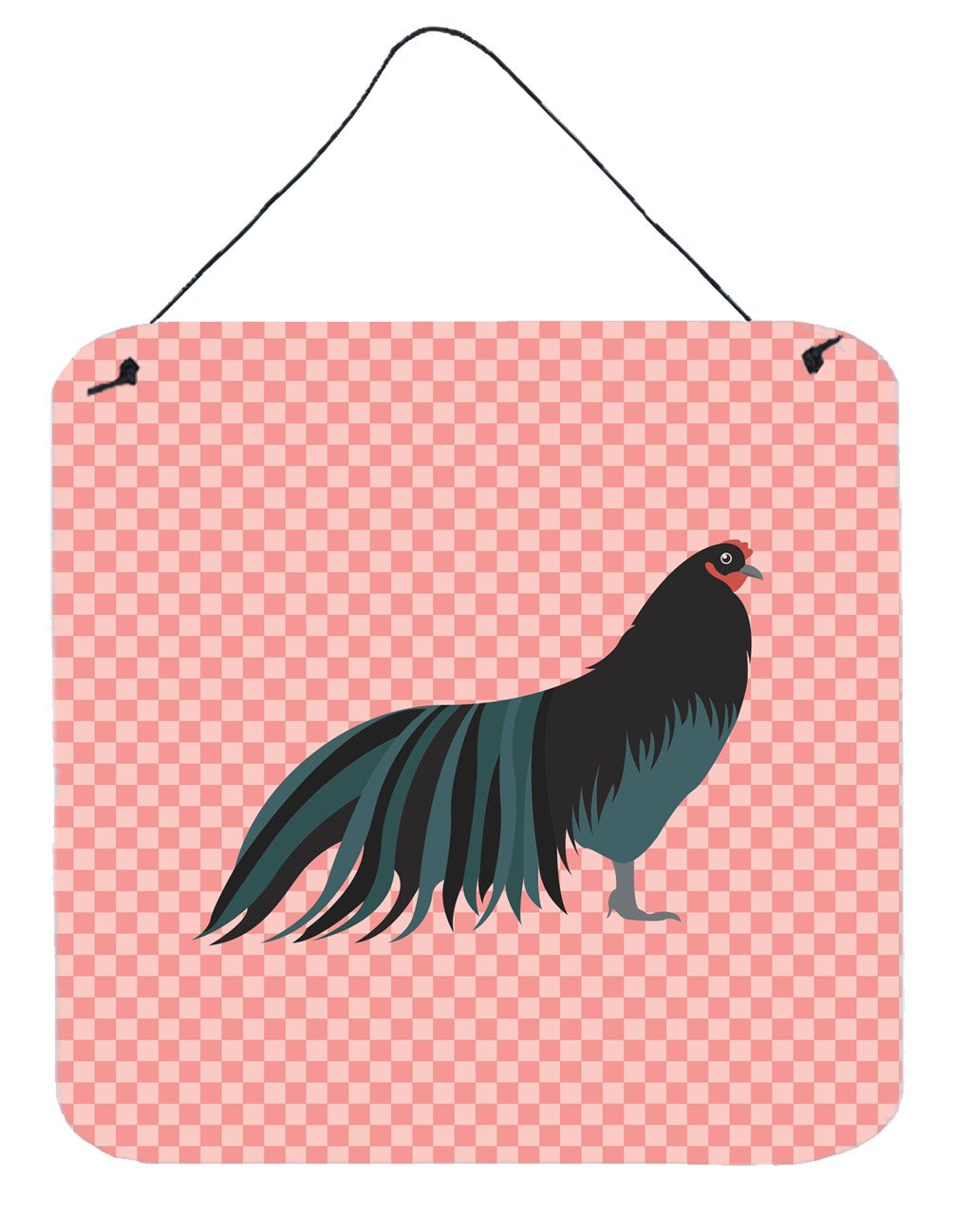 Sumatra Chicken Pink Check Wall or Door Hanging Prints BB7833DS66 by Caroline's Treasures