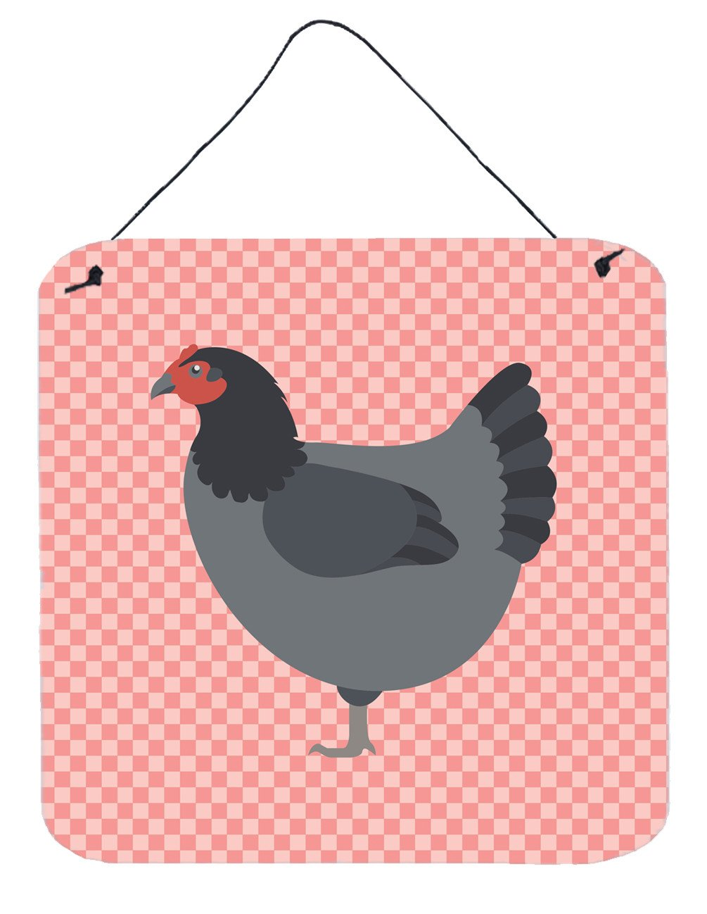 Jersey Giant Chicken Pink Check Wall or Door Hanging Prints BB7835DS66 by Caroline's Treasures