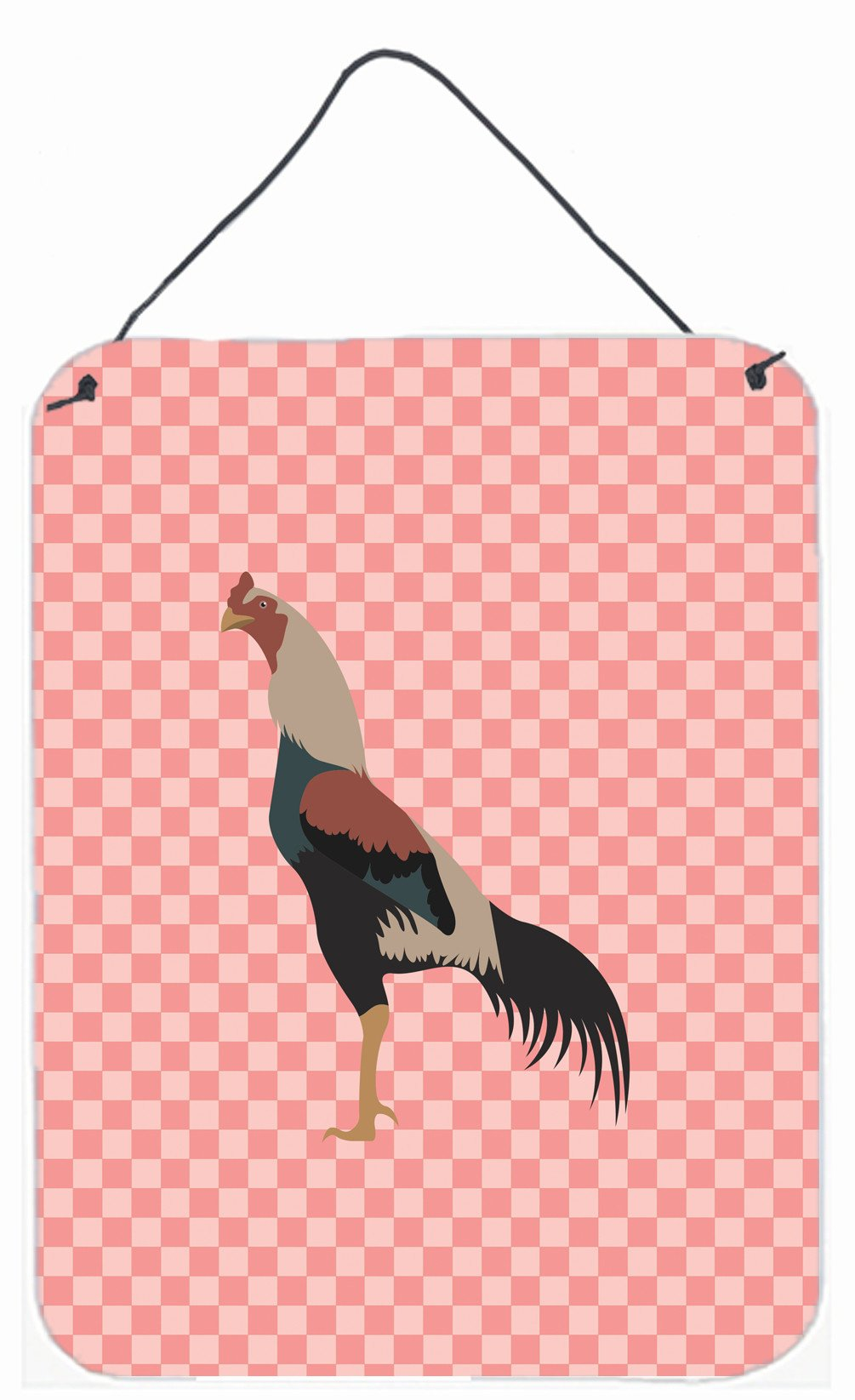 Kulang Chicken Pink Check Wall or Door Hanging Prints BB7838DS1216 by Caroline's Treasures