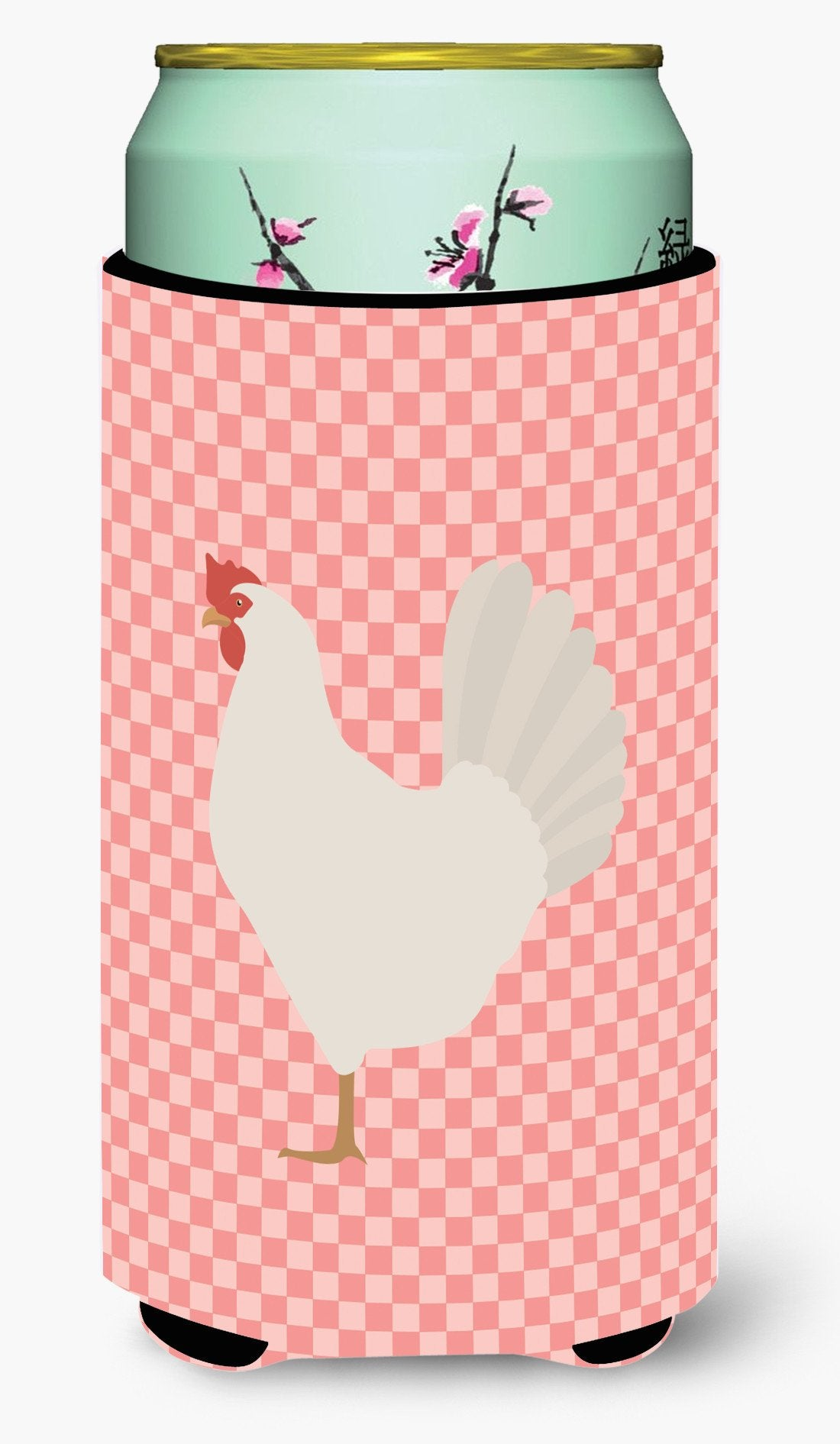 Leghorn Chicken Pink Check Tall Boy Beverage Insulator Hugger BB7840TBC by Caroline's Treasures