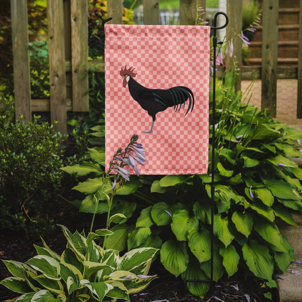 Minorca Ctalalan Chicken Pink Check Flag Garden Size by Caroline's Treasures