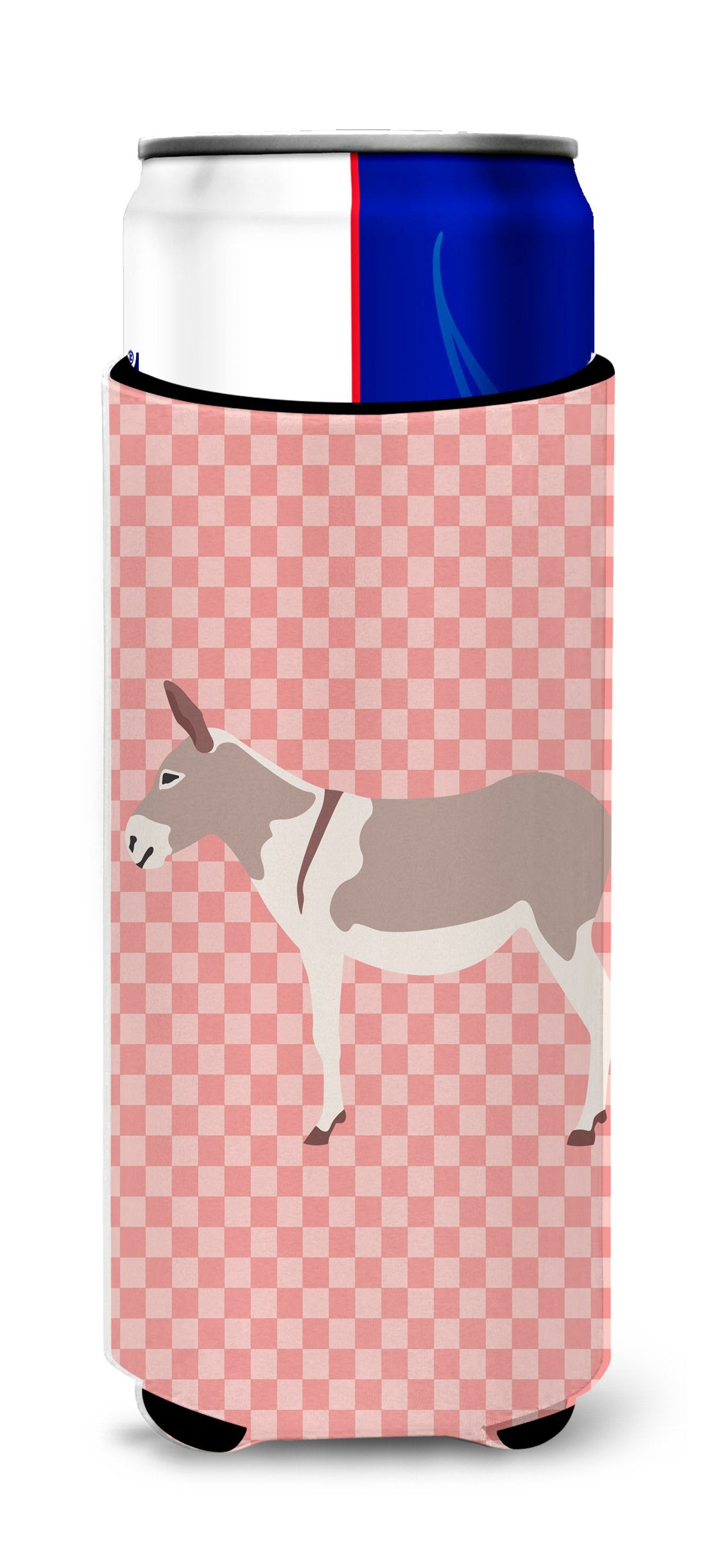 Australian Teamster Donkey Pink Check Michelob Ultra Hugger for slim cans by Caroline's Treasures