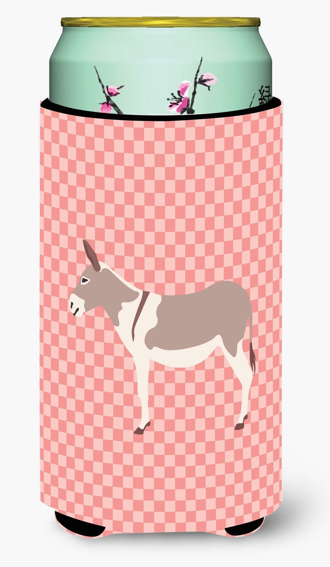 Australian Teamster Donkey Pink Check Tall Boy Beverage Insulator Hugger BB7846TBC by Caroline's Treasures