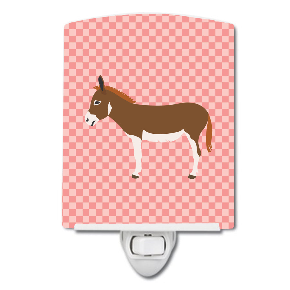 Miniature Mediterranian Donkey Pink Check Ceramic Night Light BB7847CNL by Caroline's Treasures