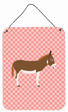 Buy this Miniature Mediterranian Donkey Pink Check Wall or Door Hanging Prints BB7847DS1216