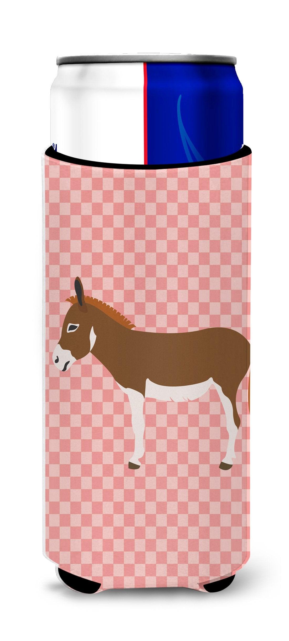 Miniature Mediterranian Donkey Pink Check Michelob Ultra Hugger for slim cans by Caroline's Treasures