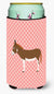 Miniature Mediterranian Donkey Pink Check Tall Boy Beverage Insulator Hugger BB7847TBC by Caroline's Treasures