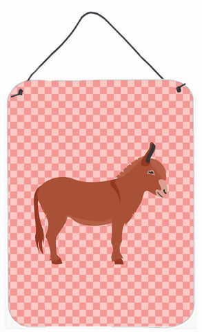 Buy this Irish Donkey Pink Check Wall or Door Hanging Prints BB7848DS1216
