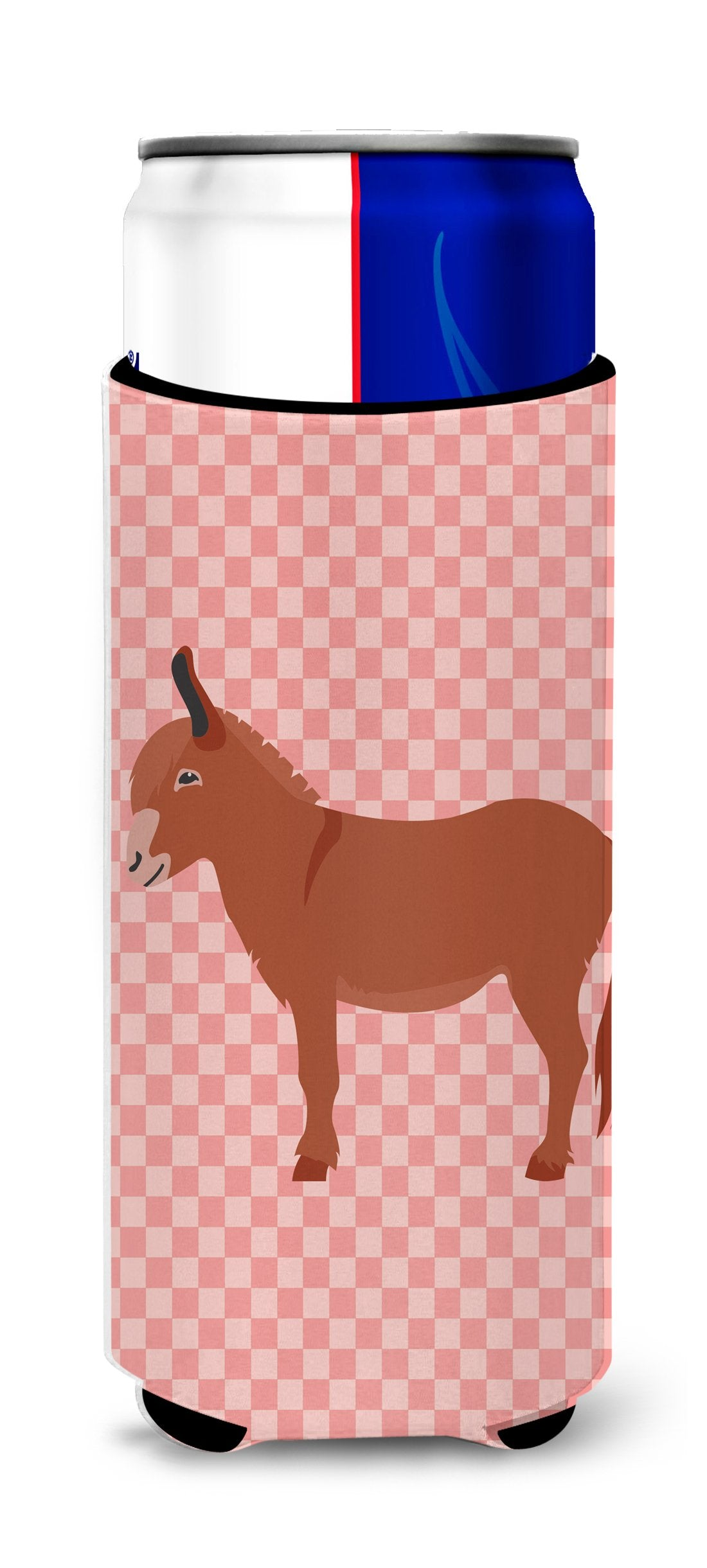 Irish Donkey Pink Check Michelob Ultra Hugger for slim cans by Caroline's Treasures