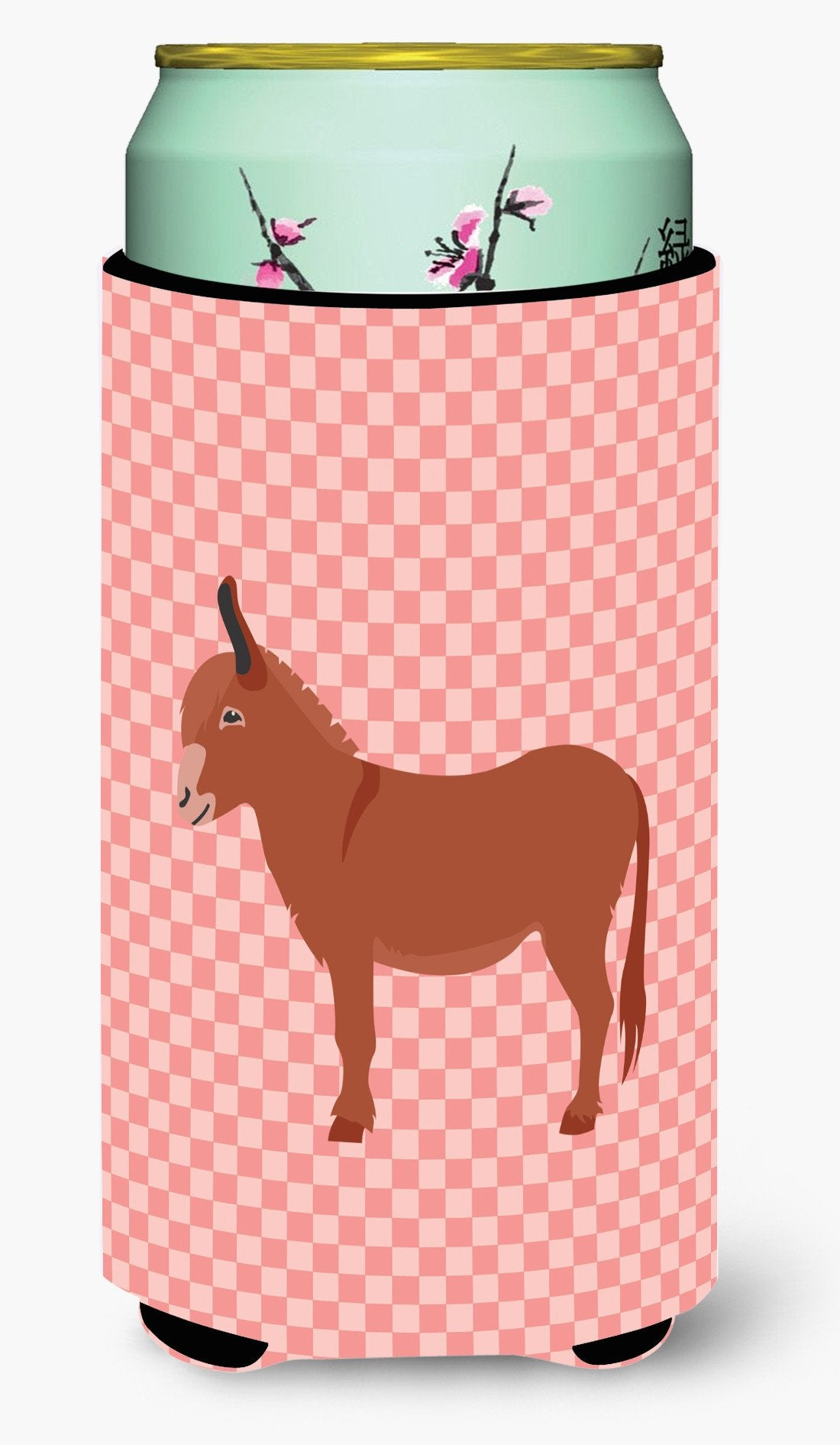 Irish Donkey Pink Check Tall Boy Beverage Insulator Hugger BB7848TBC by Caroline's Treasures
