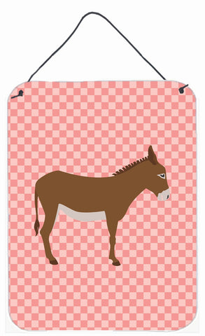 Buy this Cotentin Donkey Pink Check Wall or Door Hanging Prints BB7849DS1216
