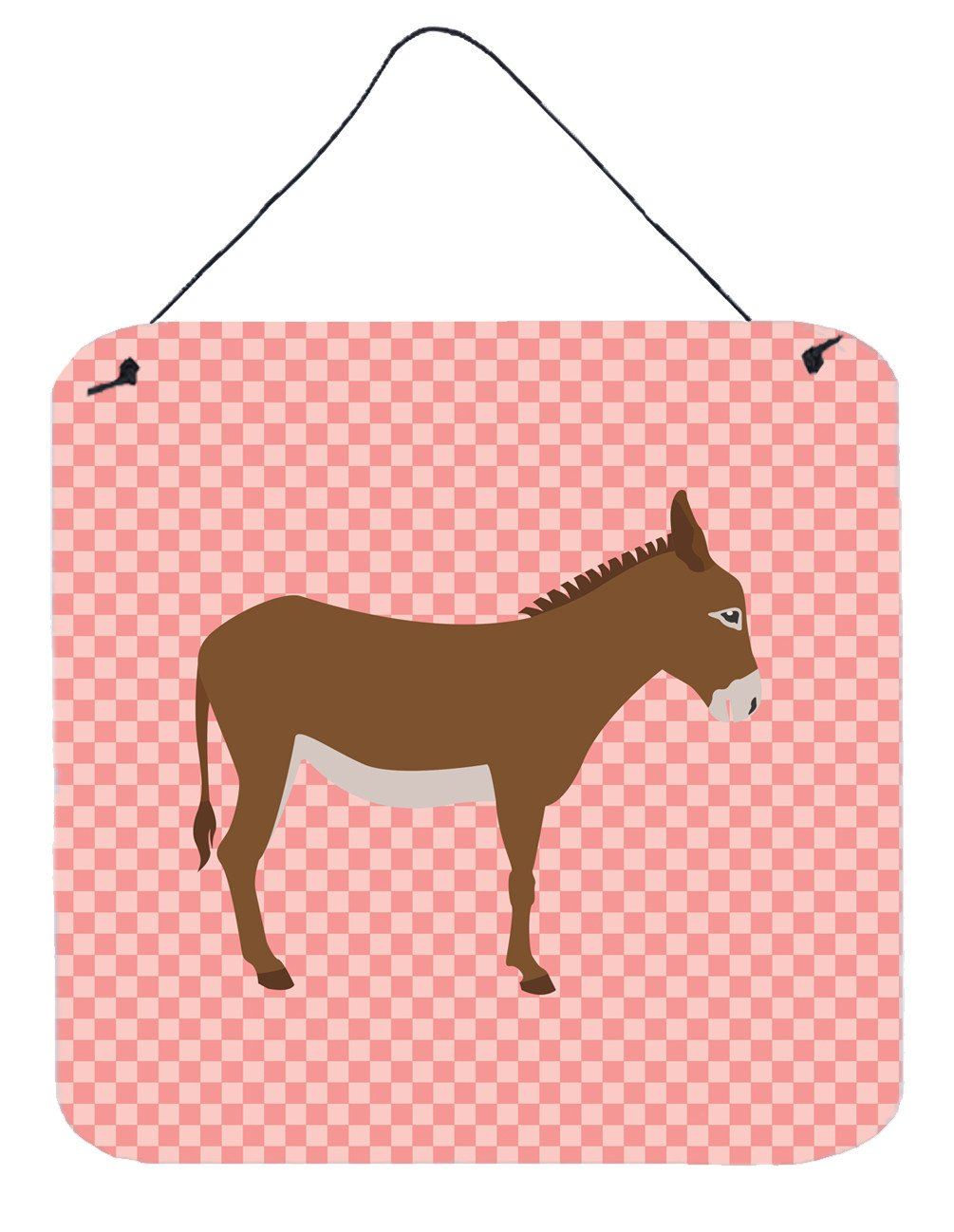 Cotentin Donkey Pink Check Wall or Door Hanging Prints BB7849DS66 by Caroline's Treasures
