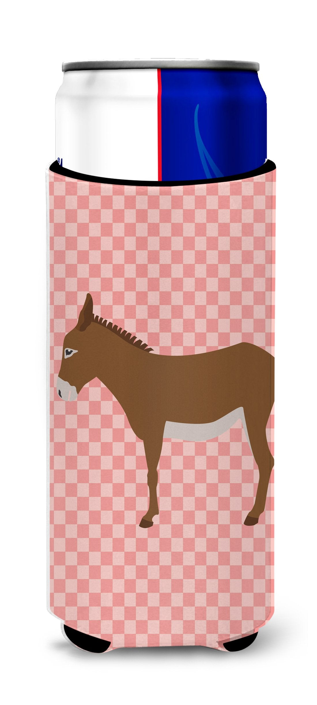 Buy this Cotentin Donkey Pink Check Michelob Ultra Hugger for slim cans